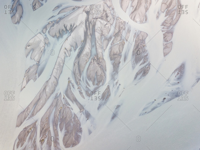 Aerial view above Knik river creating an abstract pattern, Anchorage, Alaska.