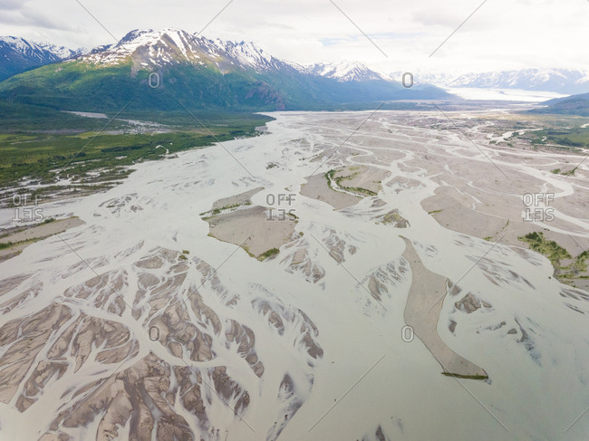 Aerial view of Knik river surrounding by mountains, Anchorage, Alaska.