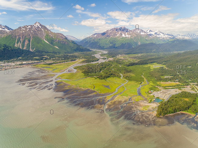 Aerial view of the coastal city of Seward during daylight, Alaska.