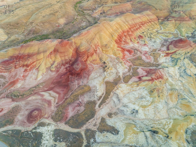 Aerial view above of Painted Hills rock formation, Oregon, U.S.A.