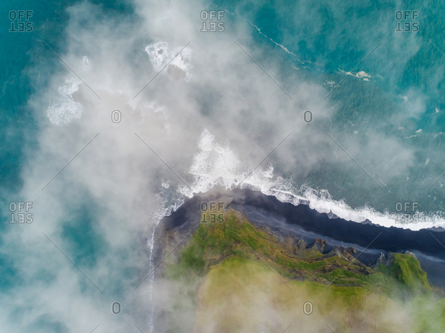 Aerial view above the cloud of empty beach, Westfjords Region, Iceland.