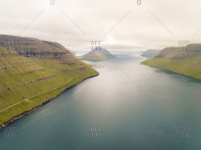 Aerial view of mountain region near the north Atlantic sea, Faroe island.