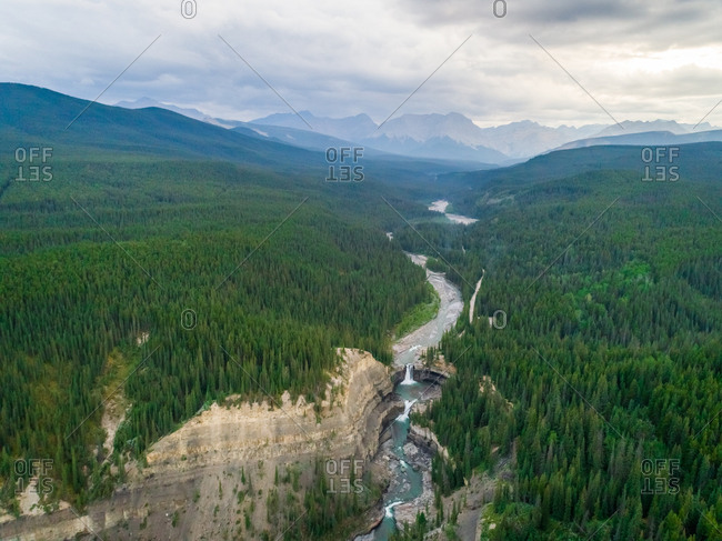 Aerial view of a river crossing pine tree forest following by waterfall, Alberta, Canada.