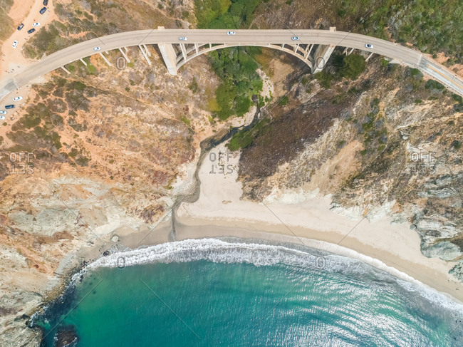 Aerial view above of Bixby Creek Bridge, California, U.S.A.