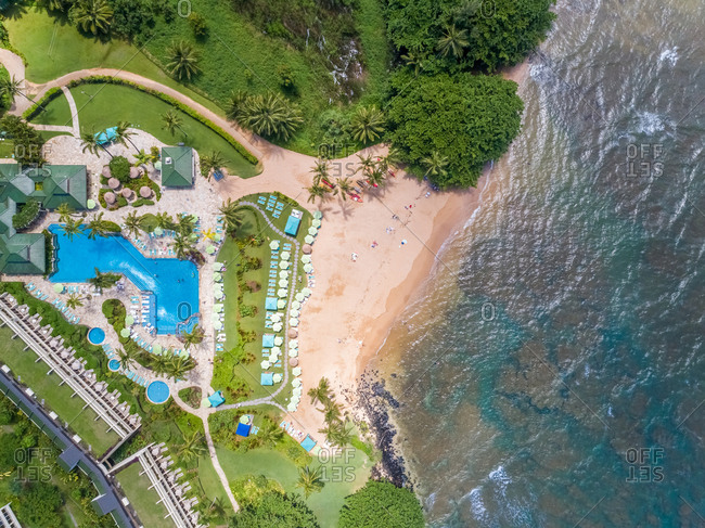 Aerial view of swimming pool of resort near Puu Poa Beach, Hawaii, U.S.A.