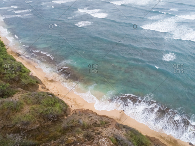 Aerial view of agitated ocean water near Diamond Head Beach Park, Hawaii, U.S.A.