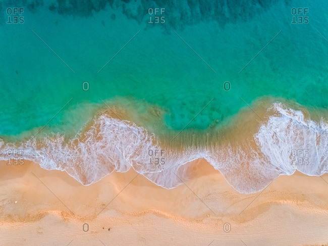 Aerial view of empty beach with turquoise water, Hawaii, U.S.A.