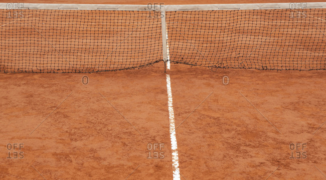 Lines and net on a tennis court