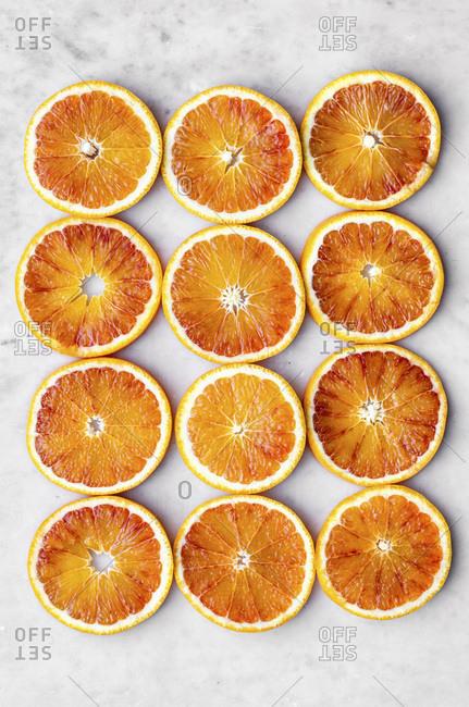 Blood Orange Slices on Marble