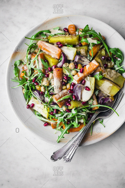 Roasted Winter Vegetables with Rucola and Tahini Dressing