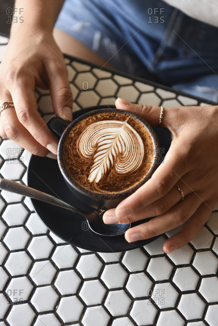 Latte and patterned table
