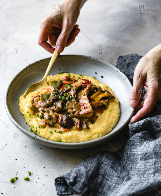 Polenta with mushrooms