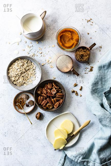 Pumpkin pie baking ingredients