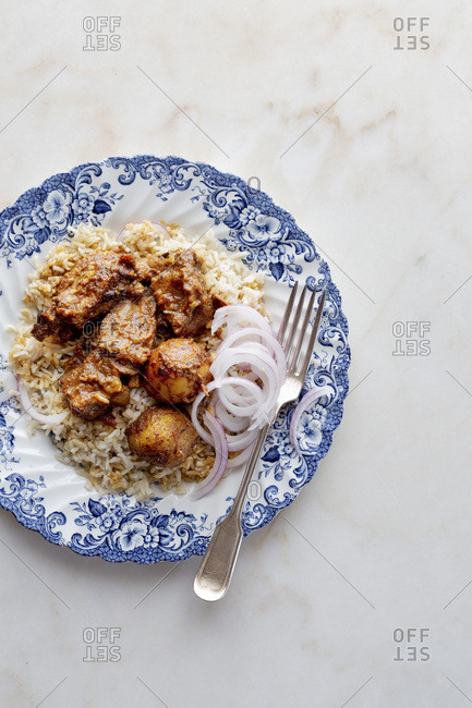 Goat curry and rice - Offset