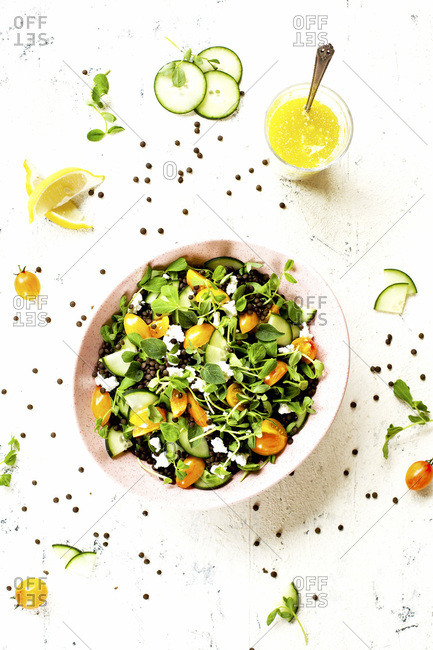Black Lentil Pea Shoot Salad with Feta Vinaigrette photographed on a white background.