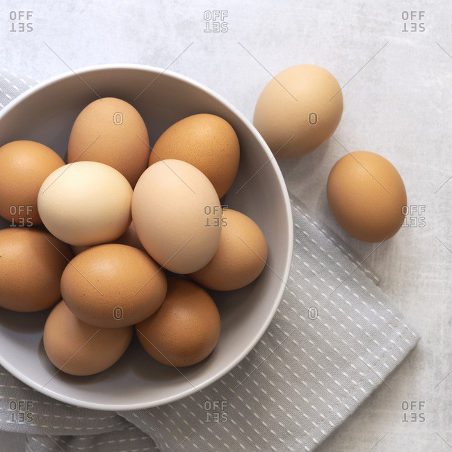 Brown and white hen eggs.