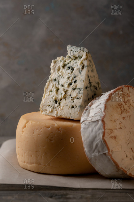 Variety of cheeses in a stack