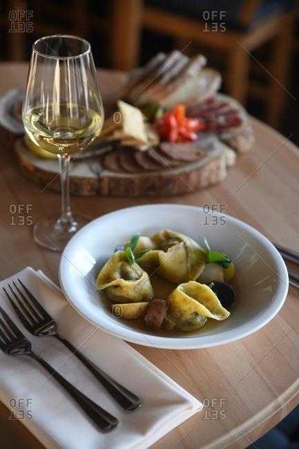 Bowl of fresh pasta at a restaurant
