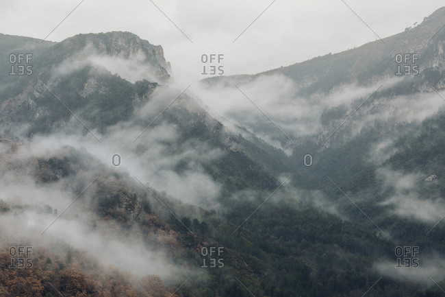 Foggy hills in the Pyrenees Mountains, Europe