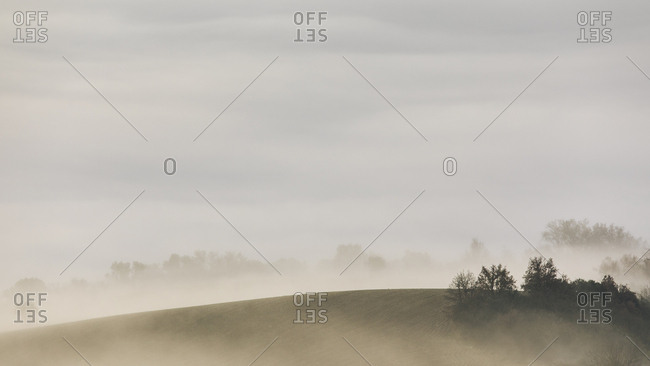 Hillside with trees surrounded by smoky haze