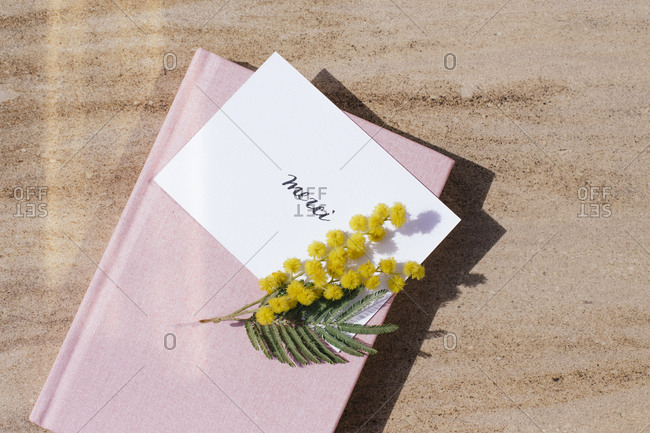Yellow flowers on top of a book and thank you note