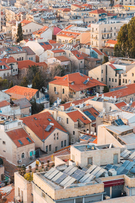 Beautiful drone view of lovely houses on streets of residential district in city of Jerusalem, Israel