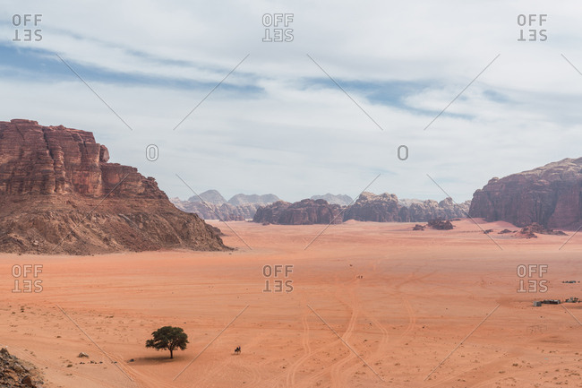 Majestic landscape of Wadi Rum desert with huge red cliffs, Jordan