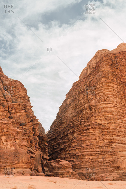 Wadi Rum valley desert with beautiful formation of  sandstone cliffs, Jordan