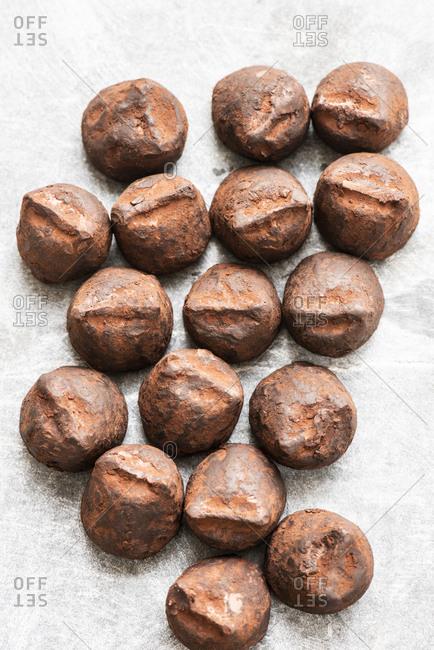 Close up of truffles