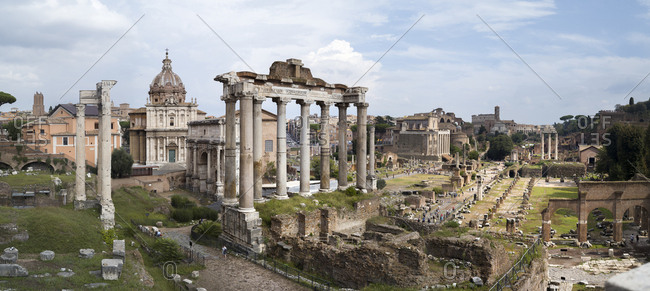 Rome, Italy - September 21, 2018: Panoramic picture of the Roman Forum.
