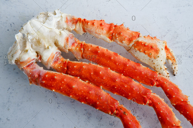 Raw alaskan king crab legs