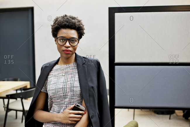 Portrait of a black African businesswoman in an office