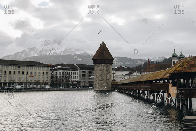 January 2, 2019: The Kapellbr�cke, an old chapel bridge, a covered wooden footbridge spanning the River Reuss diagonally in the city of Lucerne in central Switzerland