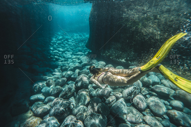 High angle view of woman diving undersea
