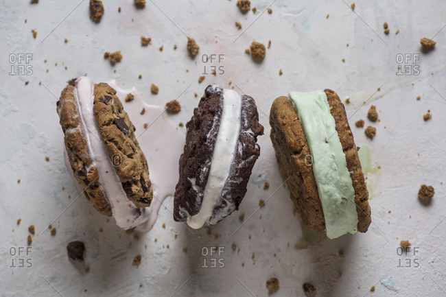 Overhead view of ice cream sandwiches on table