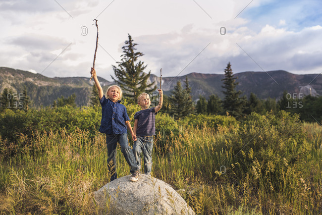 Playful brothers with arms raised holding sticks while standing on rock against mountains
