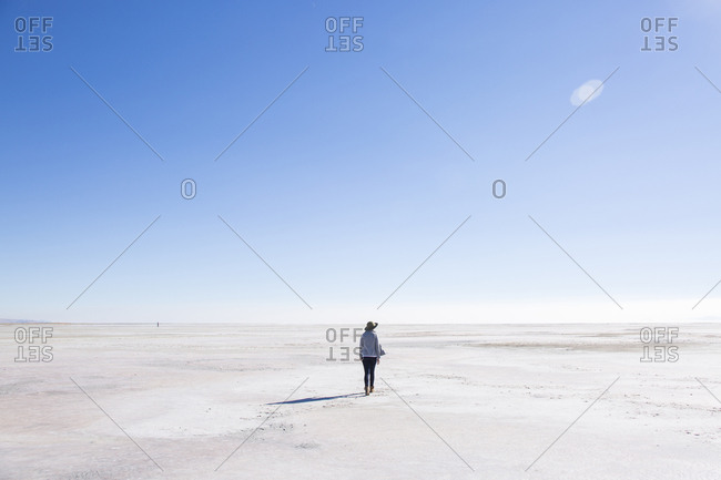 Rear view of woman walking at Great Salt Lake against blue sky during sunny day