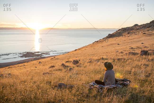 Rear view of woman looking at sea while sitting on grassy field against sky during sunset
