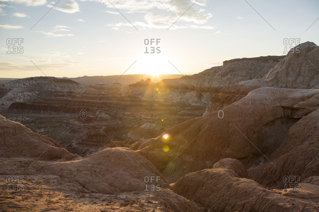 Scenic view of mountains against sky during sunset at Lake Powell