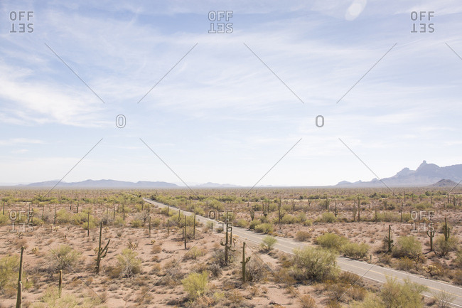 High angle view of road passing through desert against sky at Organ Pipe Cactus National Monument during sunny day