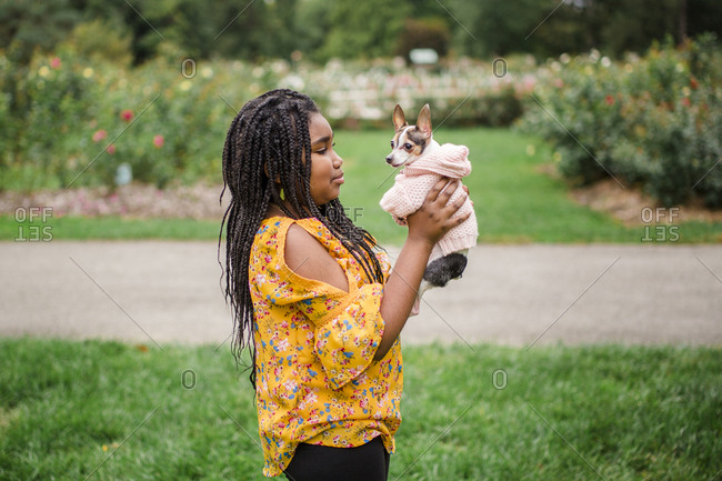 Side view of girl carrying cute Chihuahua while standing on grassy field in park