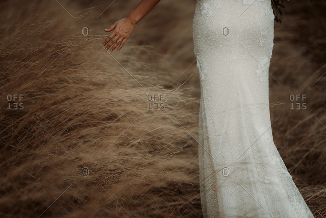 Low section of a bride walking through tall brown grass