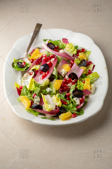 Citrus, chicory, grapes and blue cheese salad
