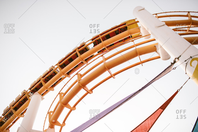 Amusement park roller coaster with creative shapes