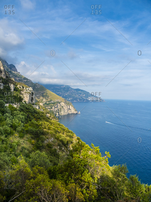 Italy- Campania- Gulf of Salerno- Sorrent- Amalfi Coast- Positano- cliff coast