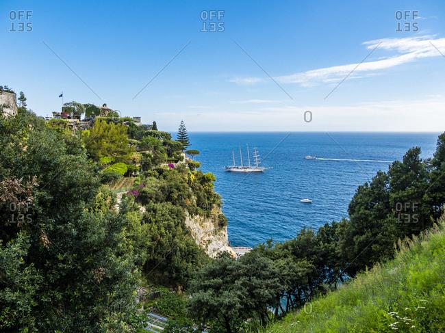 Italy- Campania- Amalfi Coast- Sorrento Peninsula- Positano- Amalfi coast- Sailing ship 'Star Clipper'