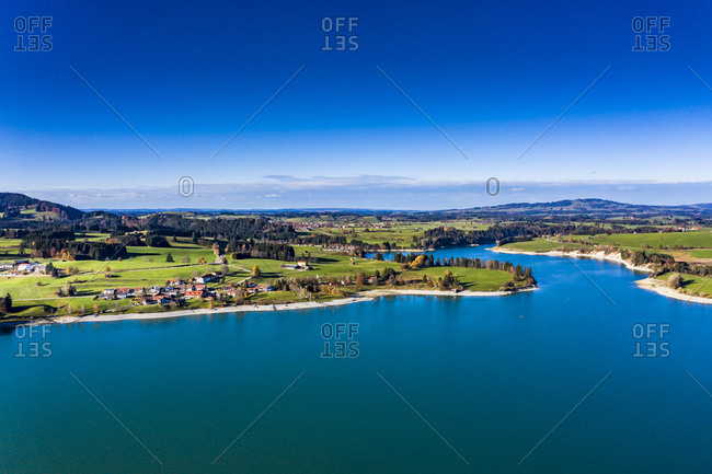 Germany- Bavaria- East Allgaeu- Fuessen- Schwangau- Dietringen- Aerial view of Lake Forggensee