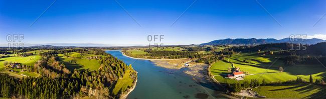 Germany- Bavaria- East Allgaeu- Fuessen- Prem- Aerial view of Lech reservoir