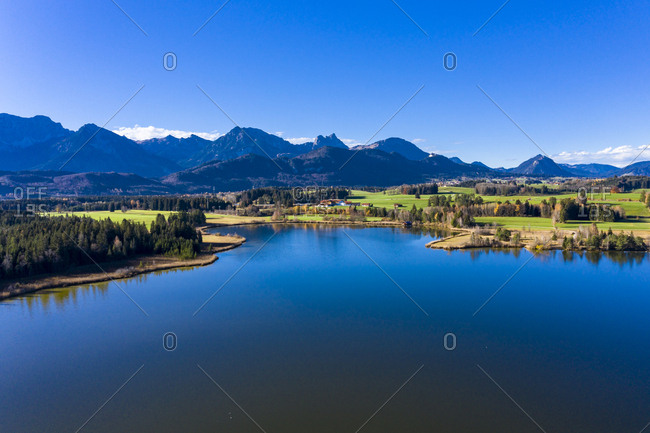 Germany- Bavaria- East Allgaeu- Fuessen region- Hopfen am See- Aerial view of Hopfensee