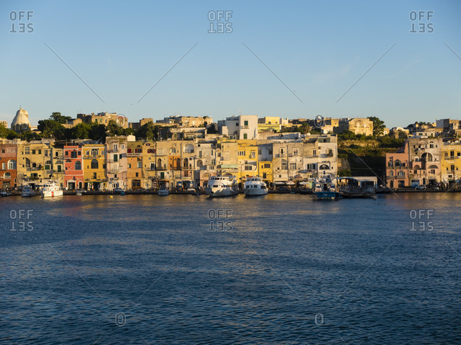 June 20, 2016: Italy- Campania- Naples- Gulf of Naples- Procida Island- town in the morning light